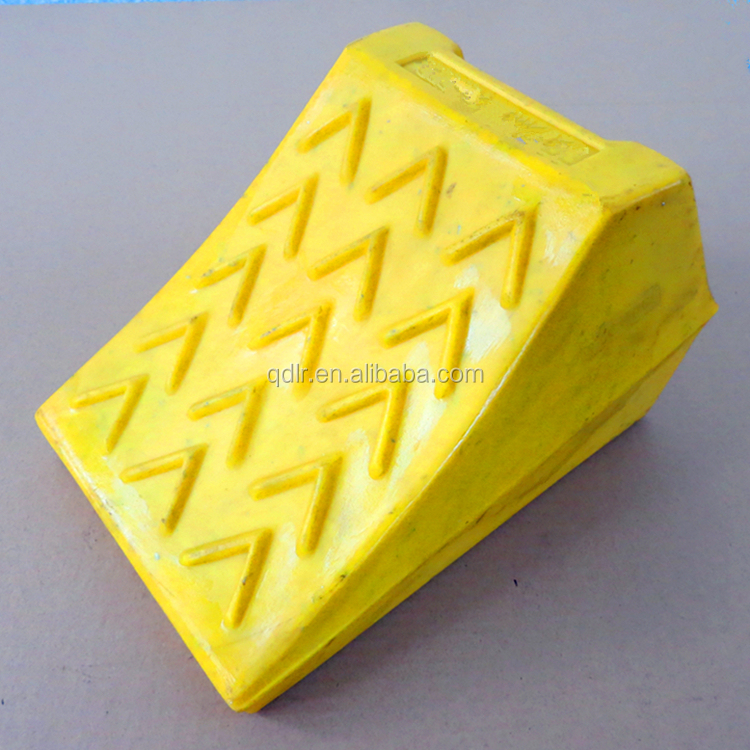 Heavy duty yellow plastic truck wheel chock with handle