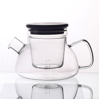 pure hand large capacity wood lid cooking glass teapot