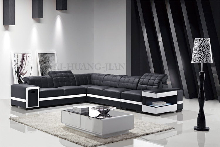 Black Cheap Adjustable Backrest Sectional Leather Sofa Set With
