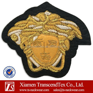 hand bullion wire embroidered badge for fashion brands good quality brand badge