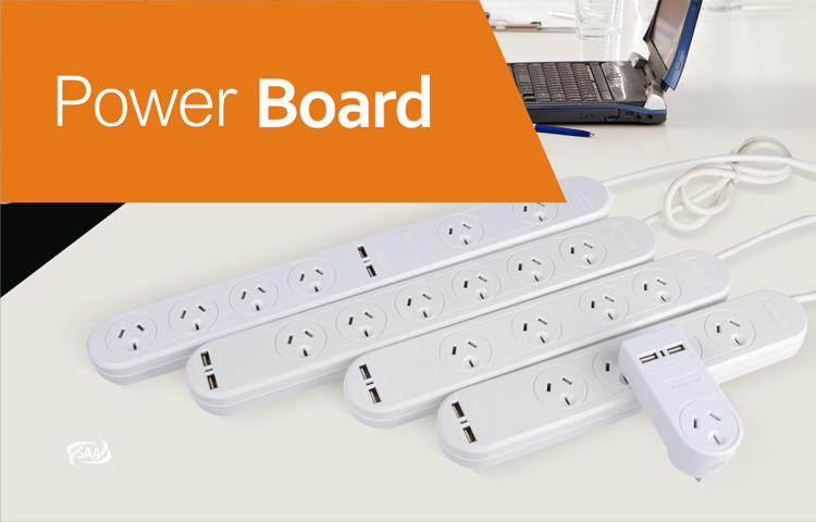 Australia power board 4 Way with USBx2 Charging