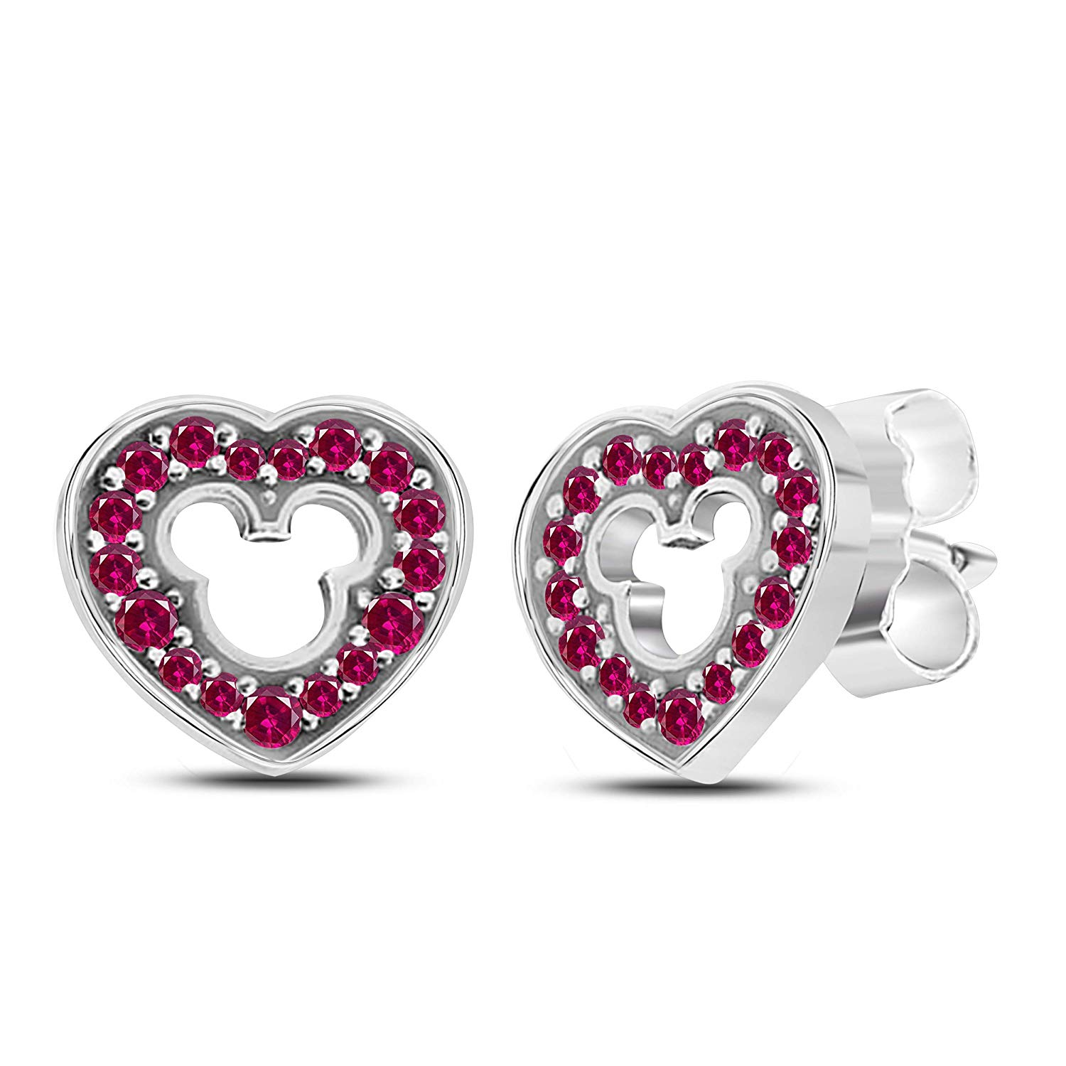 1e4b0e0cf Get Quotations · Love Heart Micky Mouse 925 Sterling Silver Stud Earrings  with Fashion Red Ruby Cubic Zirconia Studs