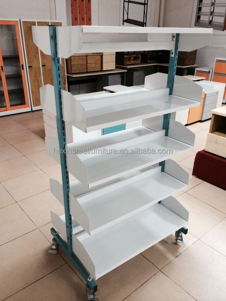 Steel Metal Mobile Book Racks Movable Bookshelf