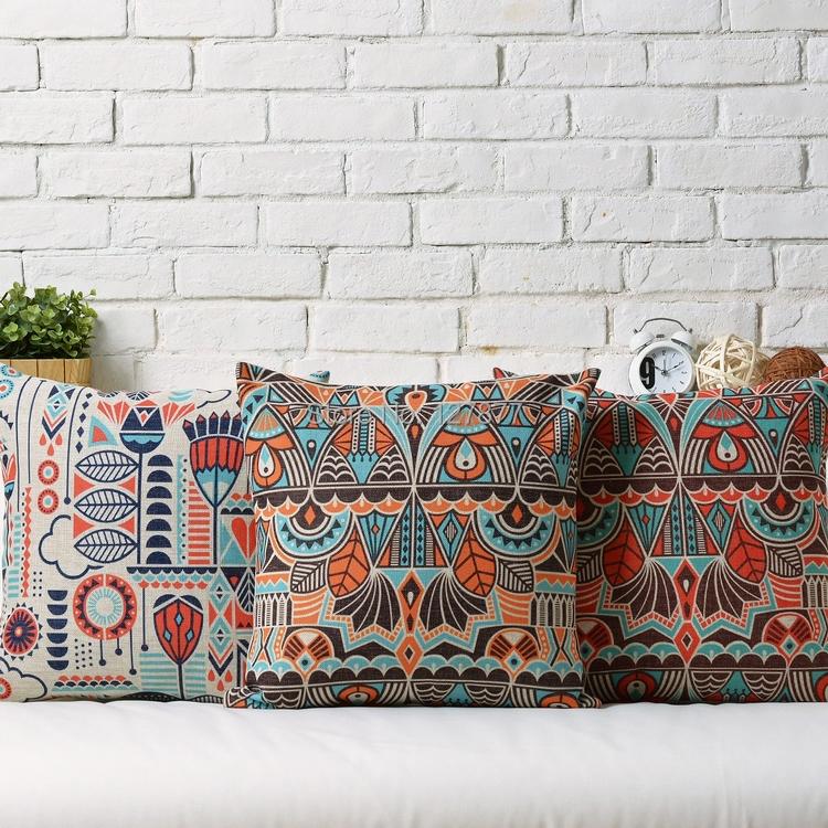 Nordic bohemian Cartoon Cushion modern stylish Throw Pillows geometric stripes Burlap   Cushion Cover free shipping