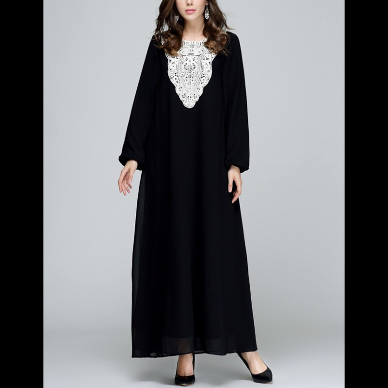 Women latest chiffon design turkish clothes Muslim dress