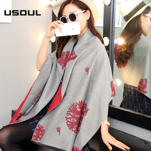 Factory Direct 2017 Winter New Double-sided Chinese Knot Printing Ladies Wrap Shawls Scarf