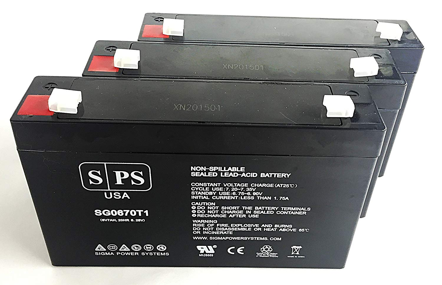 National Power GS016Q4 Emergency Light 6V 7Ah Replacement Battery -SPS BRAND (3 PACK)
