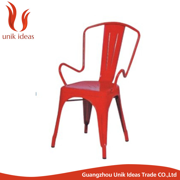 Hot Colorful Decorative Durable No Foldable Iron Chair For living room used