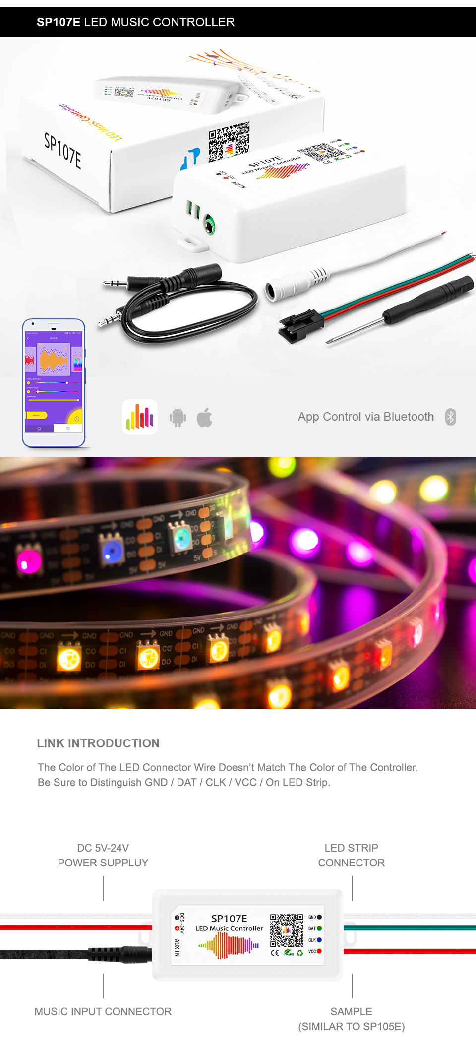 Shenzhen BTF Lighting led strip used bluetooth SP105E controller