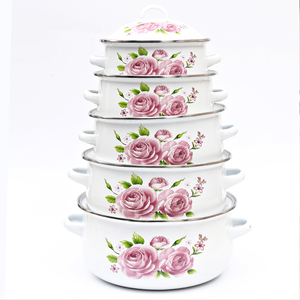 5 Pcs High Quality Enamel Pot Sets with Decal Flower Cover