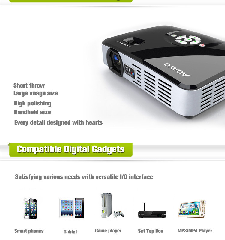 High lumen led mini projector for home theatre adayo for Highest lumen pocket projector