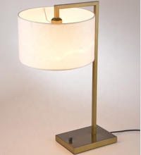E27 Iron Bedside Shade Manufacturer Bronze Hotel Light Table Lamp Fabric