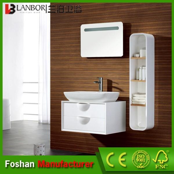 ingrosso laminato bianco in legno massello da bagno armadio di stoccaggio con cassetto fs005