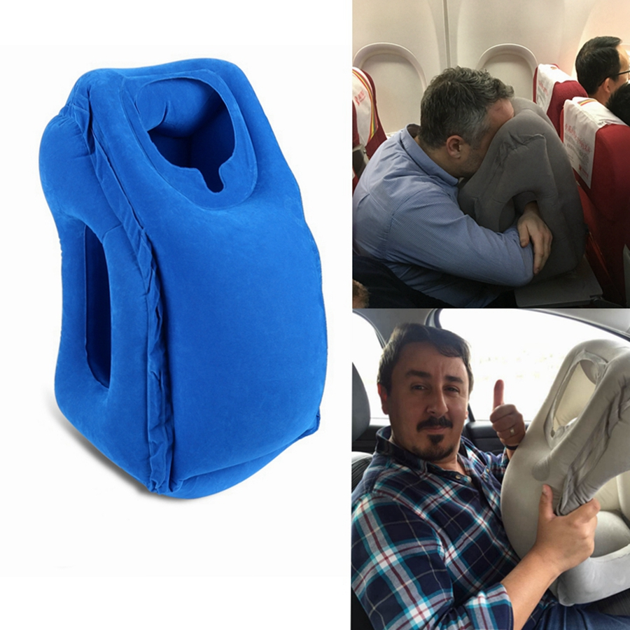 inflatable detail rest airplane product travel portable head pvc flocking pillow