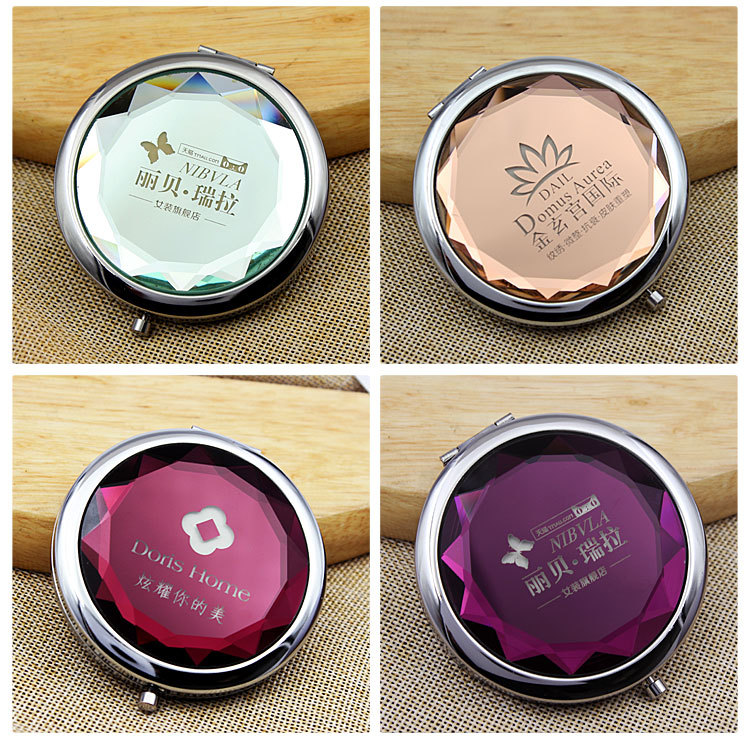 DILU Free Logo Personalized Gold Sliver Monogrammable Crystal Compact Mirror