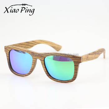 b28a21e36e OEM Eco FSC certified Zebra Wooden Sunglasses With Blue Mirror Polarized  Lens