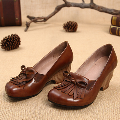 Vintage Heel Shoes Handmade Genuine Leather Tassel Women Pumps High 2017 Chunky Ladies Dress Heel Shoes 4qSRw5Fx