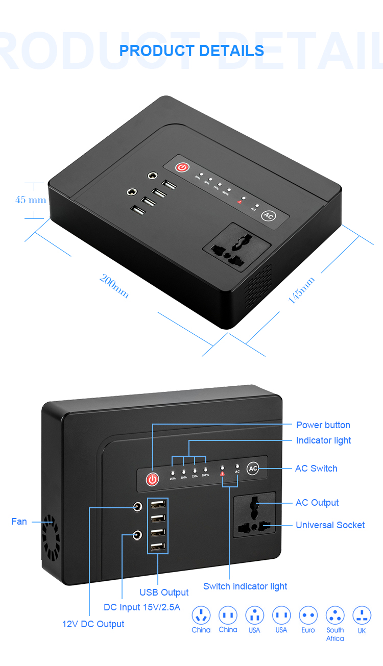 220V solar panel generator with 39600mah 146WH high quality power storage battery energy inverter