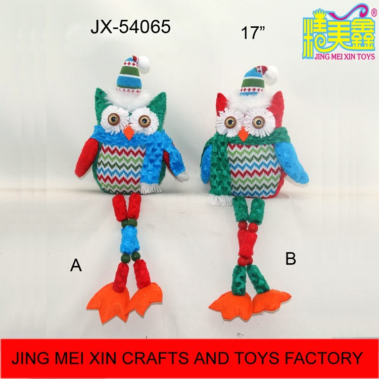New product 2016 sitting owl stuffed toys with wood bead long legs christmas ornament supplier