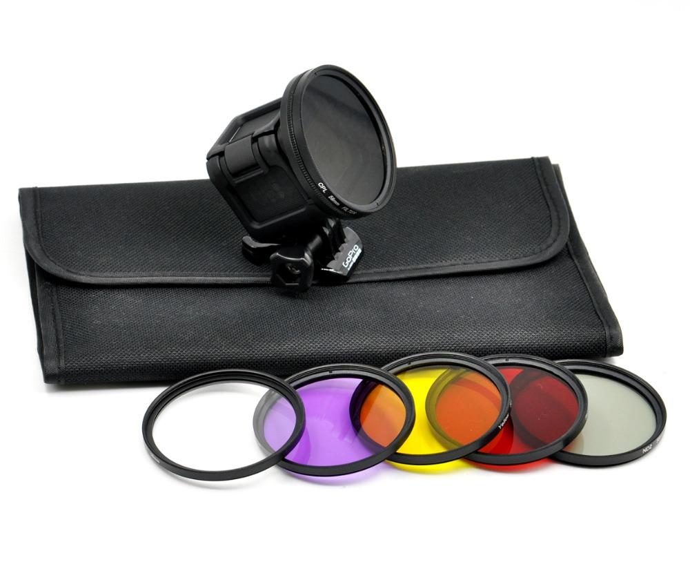 CPL УФ Красный Желтый Фиолетовый ND2 Набор для 58 ММ Фильтр Объектива с Крышка объектива и Адаптер для GoPro HD Hero 4 Камеры