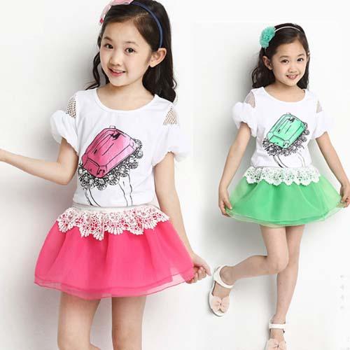 cd65e8d1d ملابس الأطفال صيف جديد 2014 الافراج عن الطبعة الكورية أميرة البنات اللباس  بأكمام قصيرة الثياب الجميلة