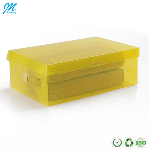 Custom made clear foldable plastic folding shoe display storage box packaging