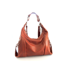 2017 unique design Fashion Tan genuine leather hobo hand bag for lady