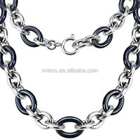 Stainless Steel Link Chain with Black Ceramic Beads Necklace