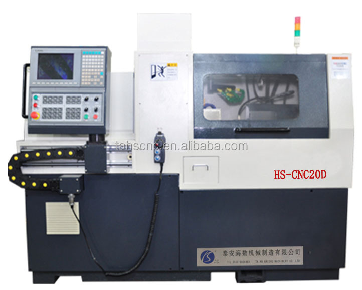 Taiwan's new generation two spindle, five axis HS-CNC2D CNC lathe machine with turning, drilling , tapping functions