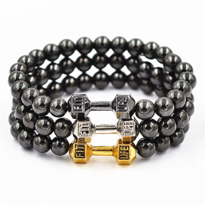Hot sell unisex beads bracelet Iron gallstone bracelets metal dumbbells wild beads bracelet