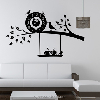 3d art custom vinyl wall sticker clock flying birds tree branch wall