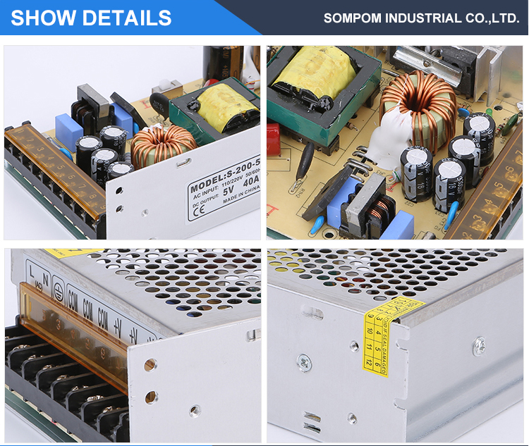 Single Output 110-220v adjustable 200w 5v 40a switching dc power supply