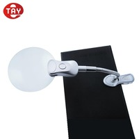 Clip on low vision floor stand handfree desktop reading magnifying lamp with LED