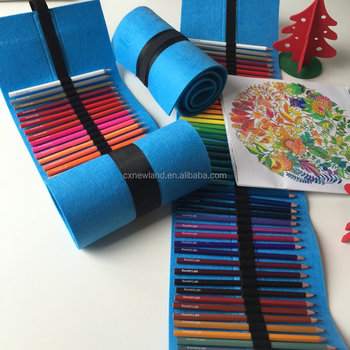 48 Pcs Colored Pencils Set With Wool Felt Roll Up Wrap