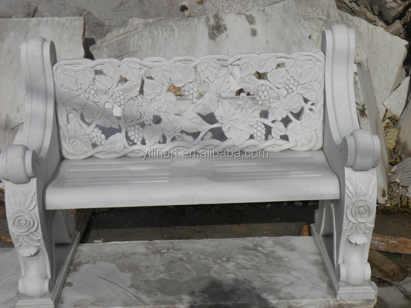 Hand Carved Stone Marble Bench With Flowers Statue