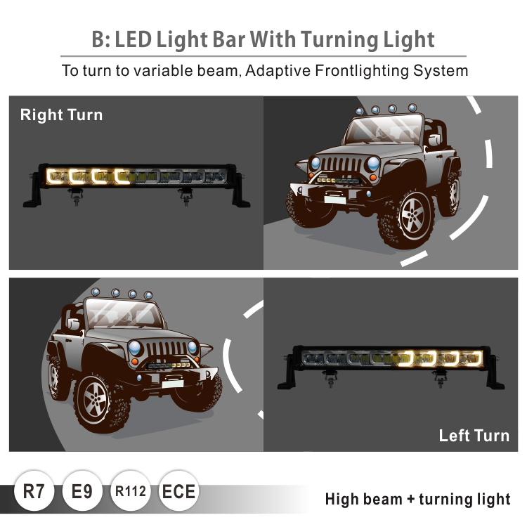 New turning light parking light functions 22 Inch 128W E mark led light bar for ATV offroad 4x4