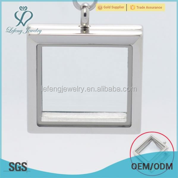 Free sample memory square pendants,floating square lockets,silver square lockets
