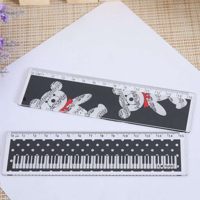 16 cm l Shaped Plastic Ruler With Keyboard Pattern For Kid