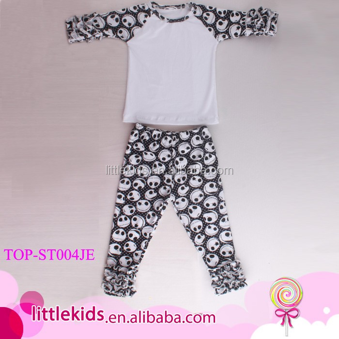 Top And Pants Ruffle Outfit Photos For Kids Baptism Baby Boy Girl Skull Print Raglan Icing Shirt & Ruffle Capri Pants Sets