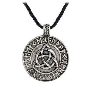 Norse Viking Totem Dragon Knot Letters Pendant Necklaces Handmade Leather Chain Retro Vintage Jewelry for Men Gift