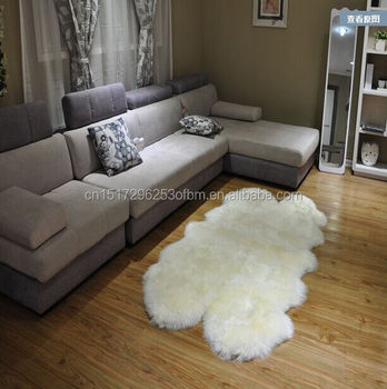 White Premium Real Fur Sheepskin Pelts Sofa Sheared Rugs For Hotel Rug With Long