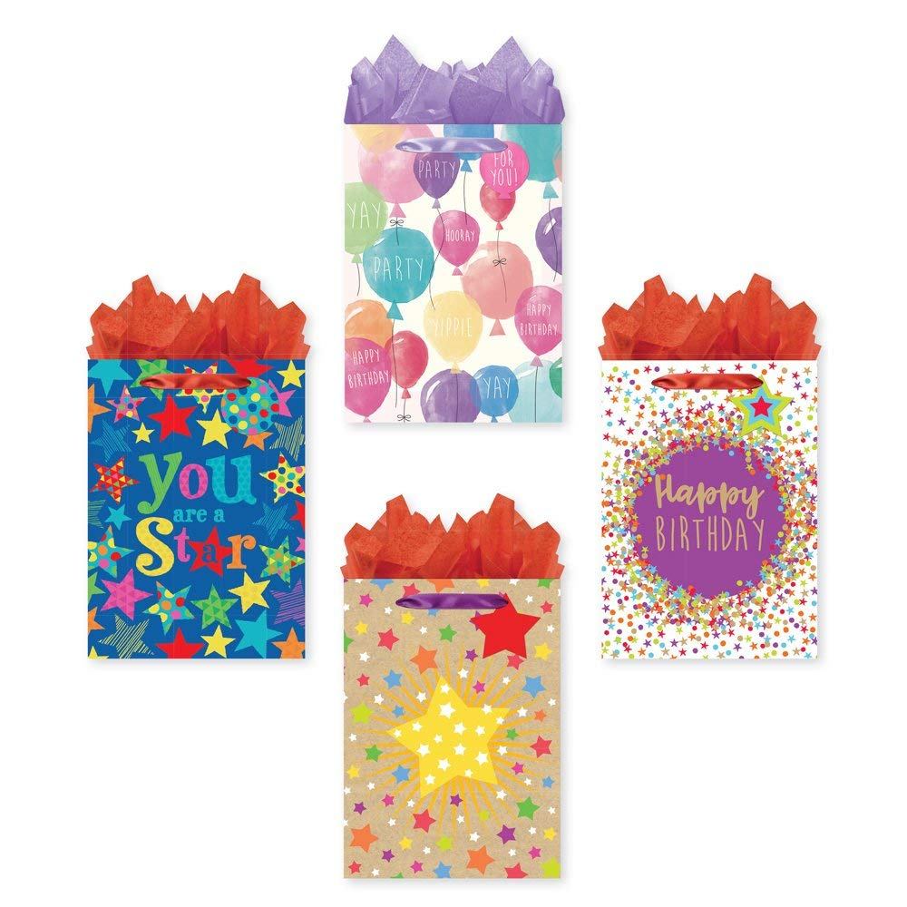 Get Quotations Bundle Of 4 Jumbo Sized Party Gift Bags Birthday With Tags And Tissue