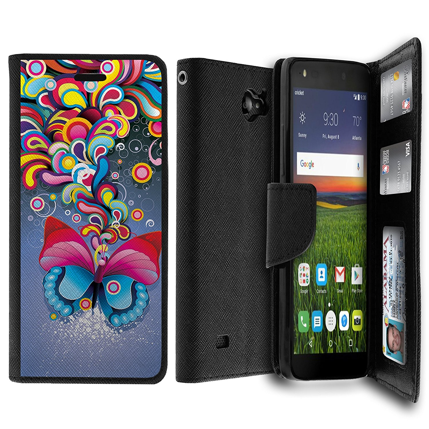 For ZTE Majesty Pro Case, Majesty Pro Wallet Case[MAX WALLET] Dual Purpose Wallet Case, Phone Protector and Wallet Style Design Card ID Slot Custom Print Design By Untouchble - Coloful Butterfly