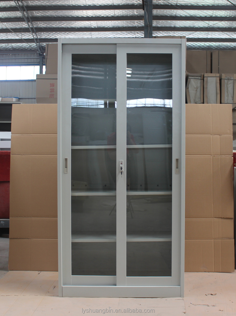 Storage Cabinet Sliding Doors Full Height High Gloss Factory Price Glass Sliding Door Steel