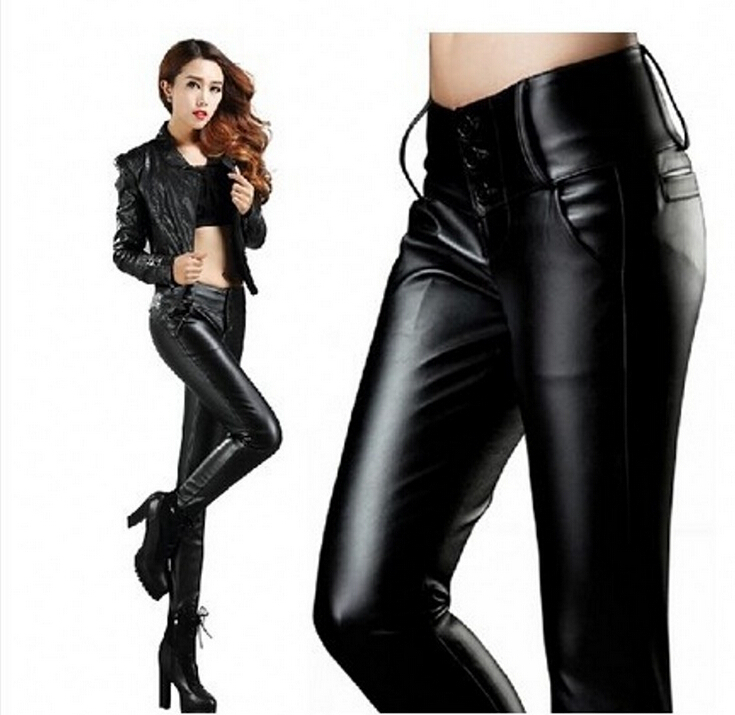 648bf05292f5 Get Quotations · S-L New Women s PU Leather Pants Fashion High Waist Pencil  Trousers For Woman Sexy For Women