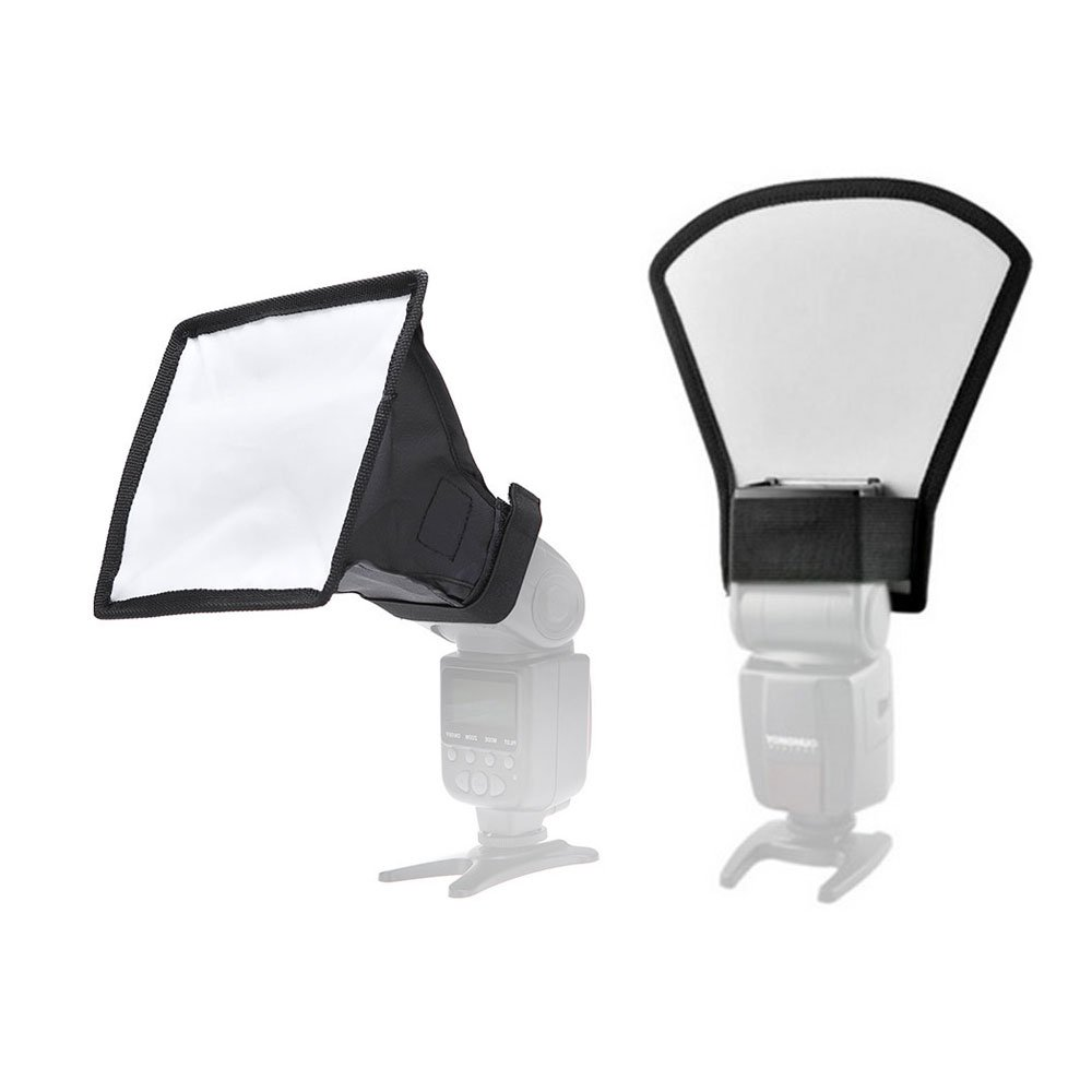 Harwerrel Flash Softbox Diffuser Reflector Kit - 6x7/15x17cm Collapsible Softbox + Two-Sides Silver/White Reflector for Canon Nikon Sony Pentax Olympus Yongnuo Speedlight