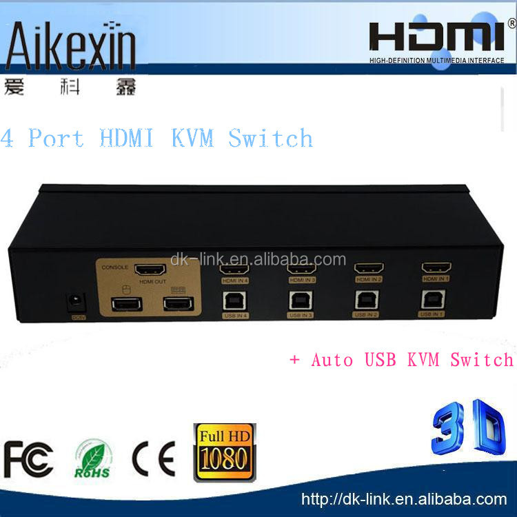 4-Port HDMI USB KVM Switch 4 in 1 out HDMI Switch
