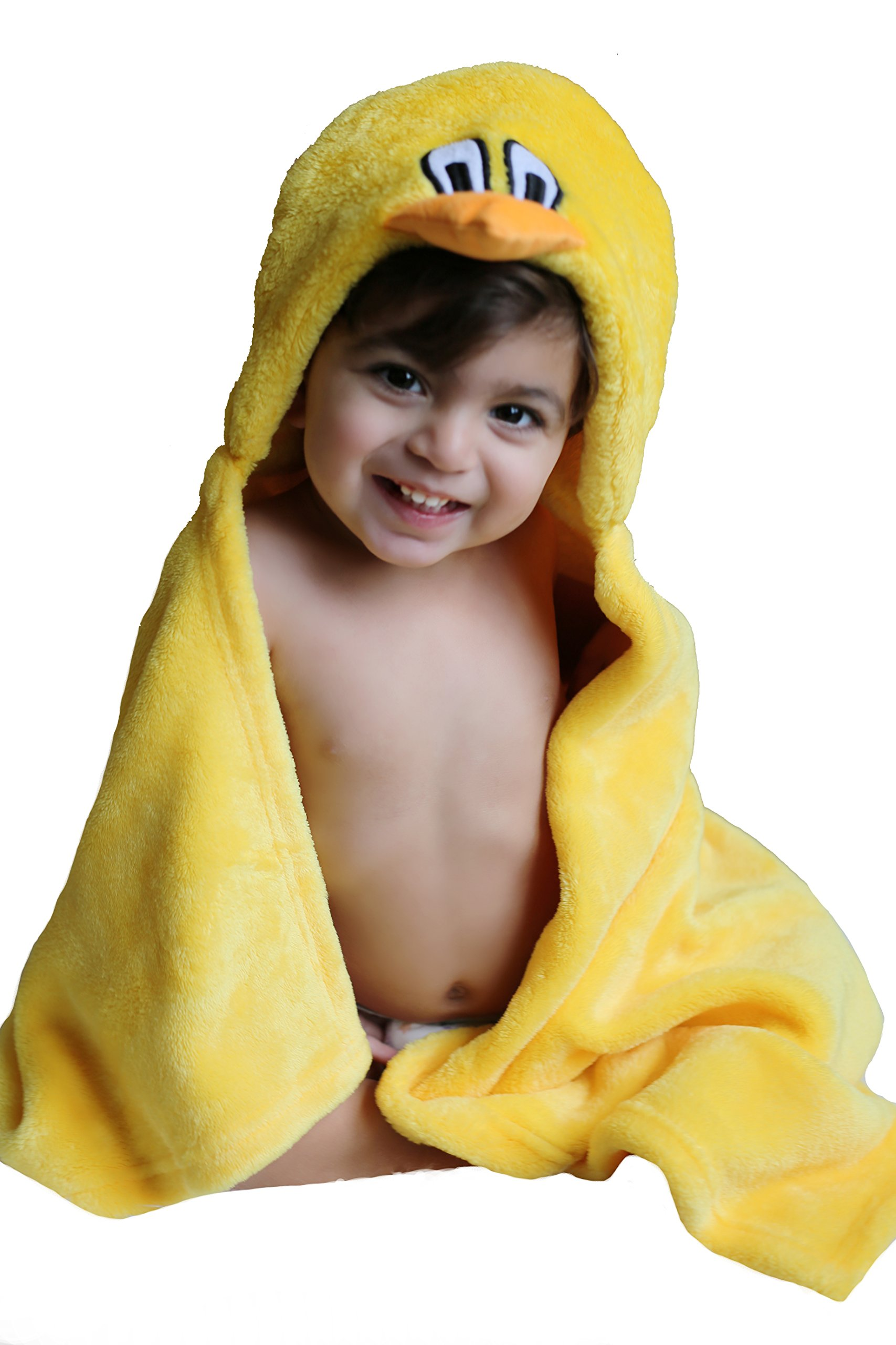 Premium Baby Hooded Blanket Gift Set in Yellow. Cute Duck is the Hood, Super Soft and Gentle for Baby Skin. Generous 30 Inches Long by 36 Inches Wide. Washcloth and Baby Bib In Yellow Included..
