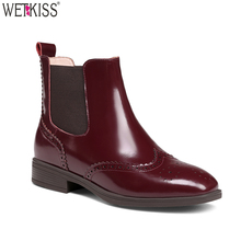 European Style Women Chelsea Boots Wing Toe Slip On Ladies Winter Ankle Boots