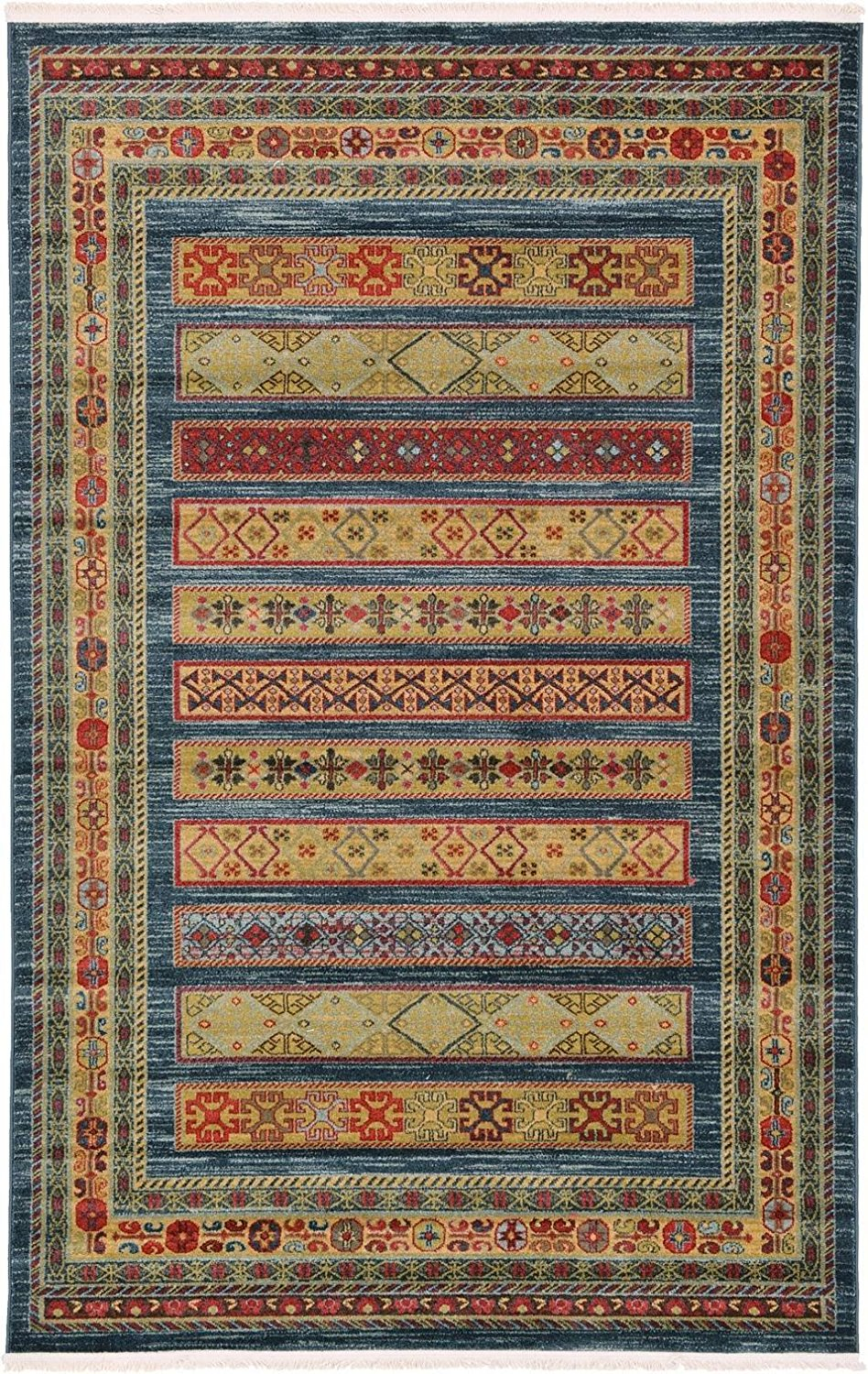 A2Z Rug 5.1-Feed-by-8-Feed Gabbeh Collection Area Rug - Blue Modern & Traditional rugs for living room - rugs for dining room & bedroom - Floor Carpet